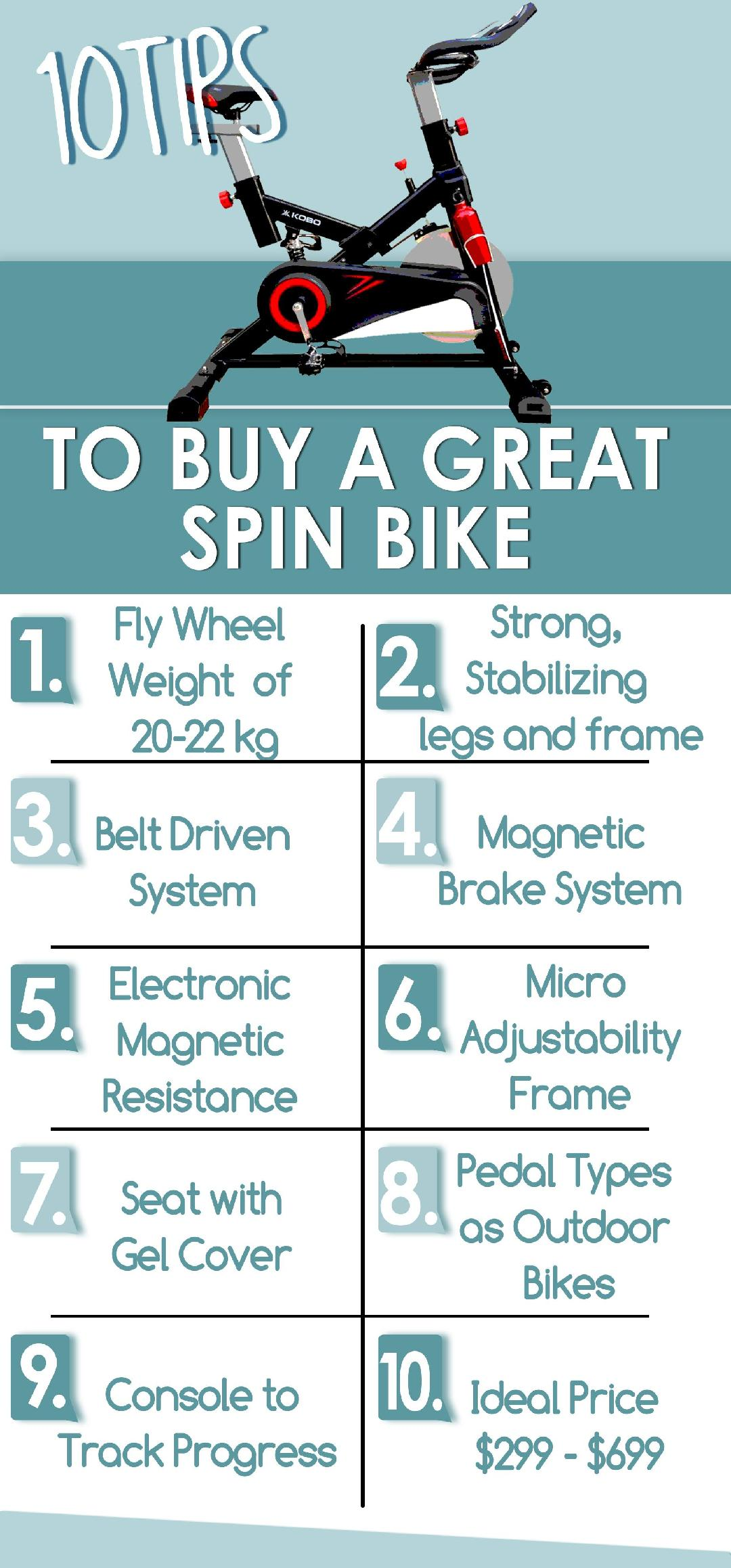 spin bike buying guide infographics